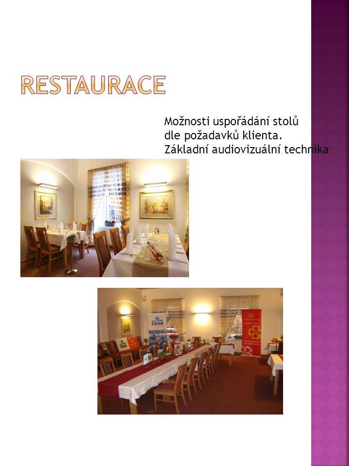 Možnosti uspořádání stolů dle požadavků klienta. Základní audiovizuální technika