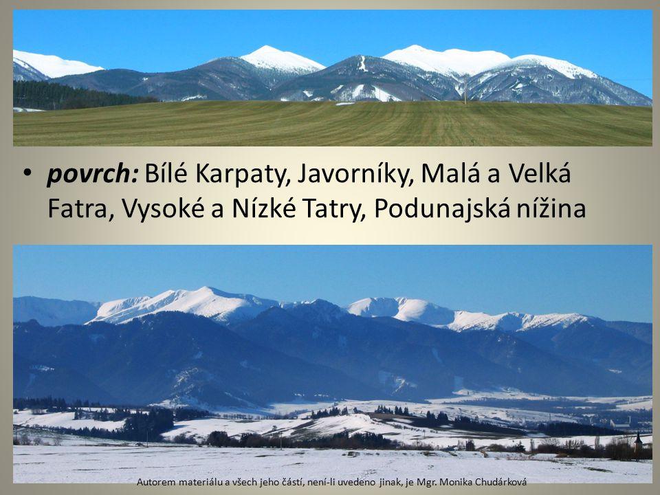 povrch: Bílé Karpaty, Javorníky, Malá a Velká Fatra, Vysoké a Nízké Tatry, Podunajská nížina Autorem materiálu a všech jeho částí, není-li uvedeno jinak, je Mgr.
