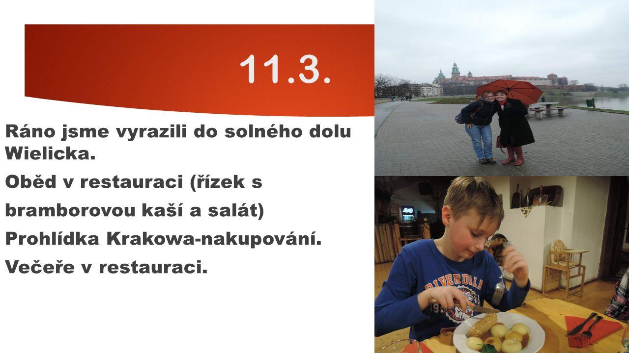 12.3.Ráno jsme jeli do Katovic do nákupního centra, kde jsme si dali oběd.