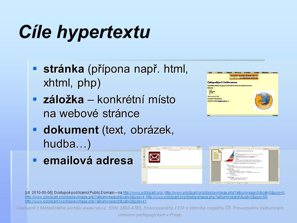 Cíle hypertextu  stránka (přípona např.