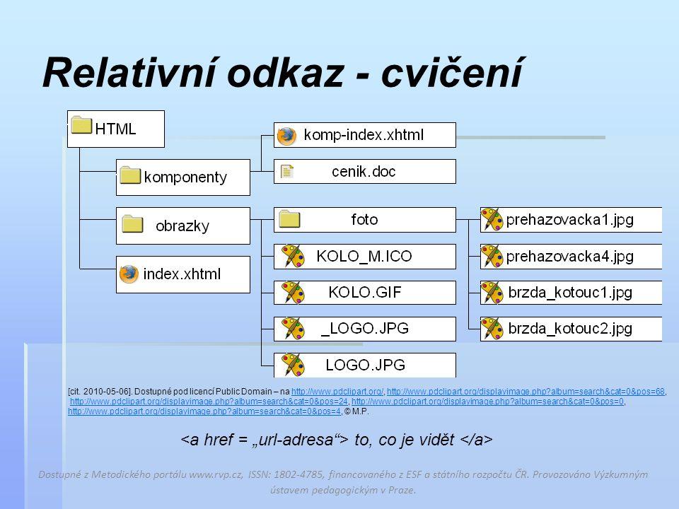 Kontrola cvičení – URL adresy Dostupné z Metodického portálu www.rvp.cz, ISSN: 1802-4785, financovaného z ESF a státního rozpočtu ČR.
