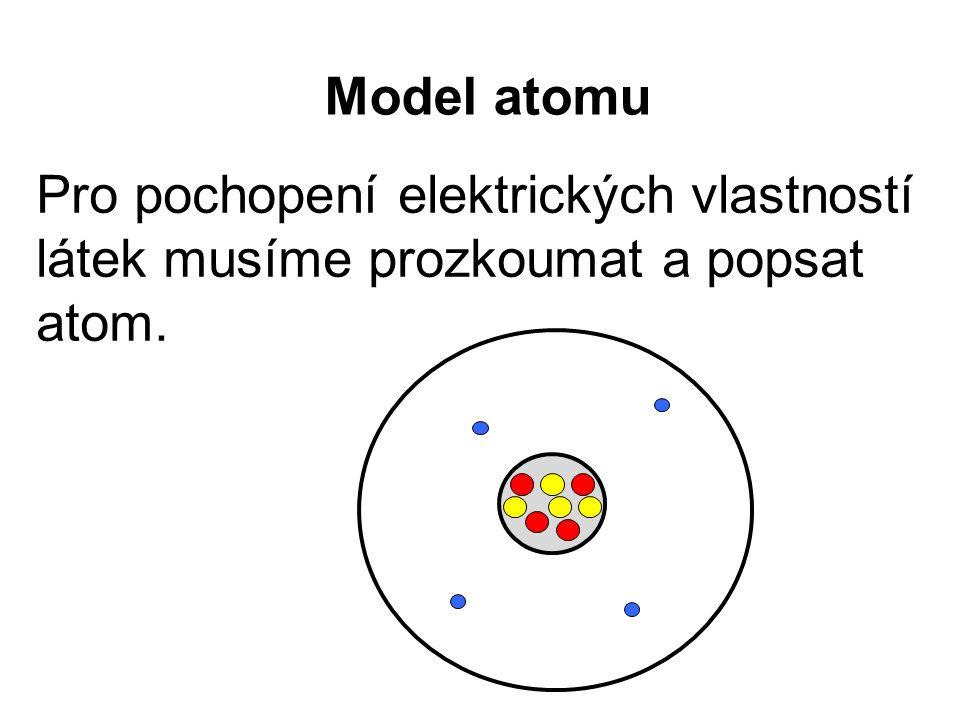 Pro pochopení elektrických vlastností látek musíme prozkoumat a popsat atom.
