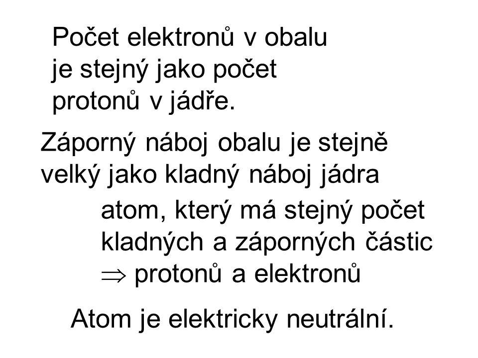 Počet elektronů v obalu je stejný jako počet protonů v jádře. Záporný náboj obalu je stejně velký jako kladný náboj jádra Atom je elektricky neutrální