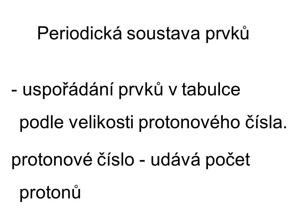 - uspořádání prvků v tabulce podle velikosti protonového čísla. Periodická soustava prvků protonové číslo - udává počet protonů