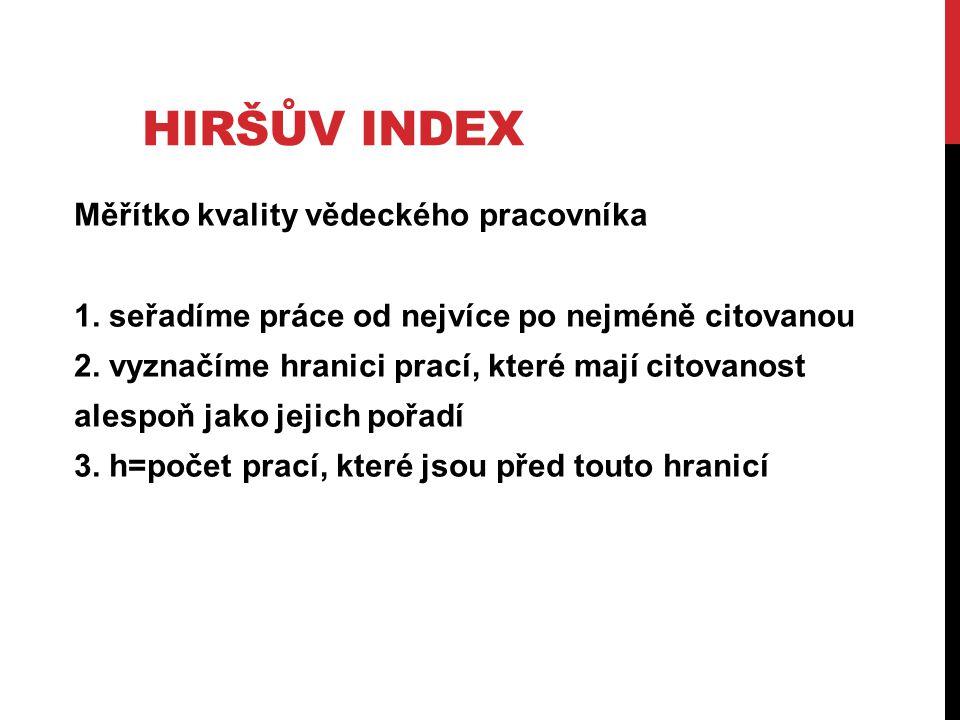 HIRŠŮV INDEX Měřítko kvality vědeckého pracovníka 1. seřadíme práce od nejvíce po nejméně citovanou 2. vyznačíme hranici prací, které mají citovanost