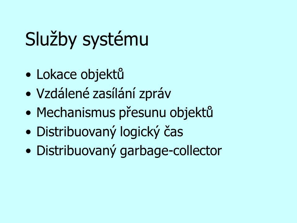 Služby systému Lokace objektů Vzdálené zasílání zpráv Mechanismus přesunu objektů Distribuovaný logický čas Distribuovaný garbage-collector