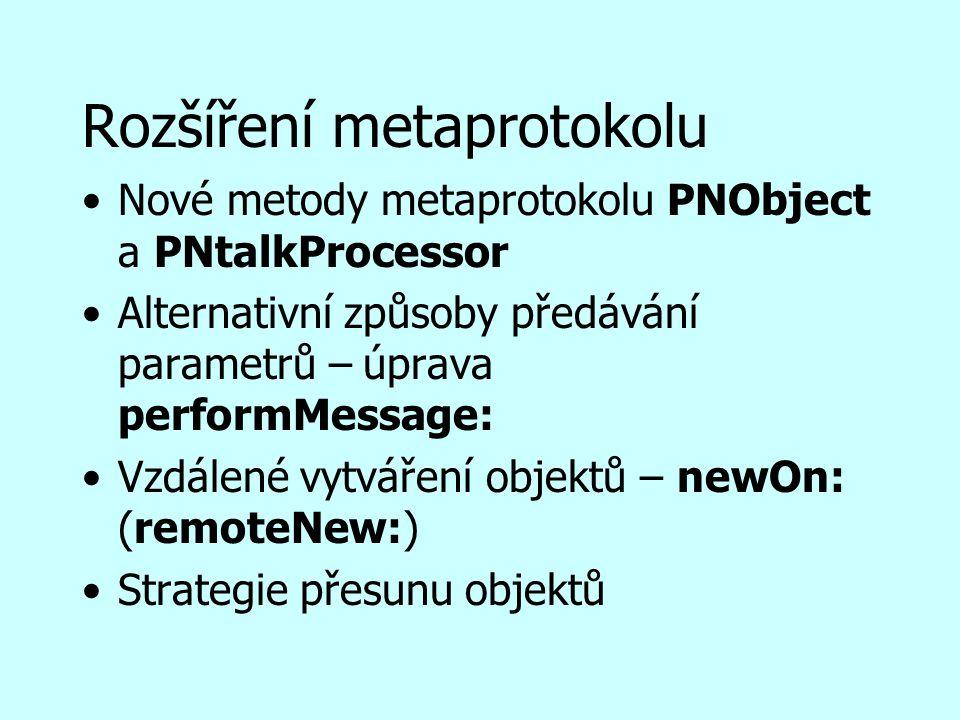 Rozšíření metaprotokolu Nové metody metaprotokolu PNObject a PNtalkProcessor Alternativní způsoby předávání parametrů – úprava performMessage: Vzdálené vytváření objektů – newOn: (remoteNew:) Strategie přesunu objektů