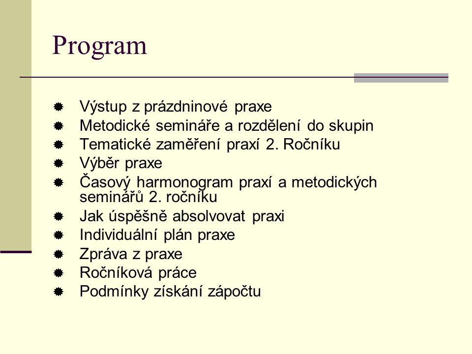 Program  Výstup z prázdninové praxe  Metodické semináře a rozdělení do skupin  Tematické zaměření praxí 2. Ročníku  Výběr praxe  Časový harmonogr