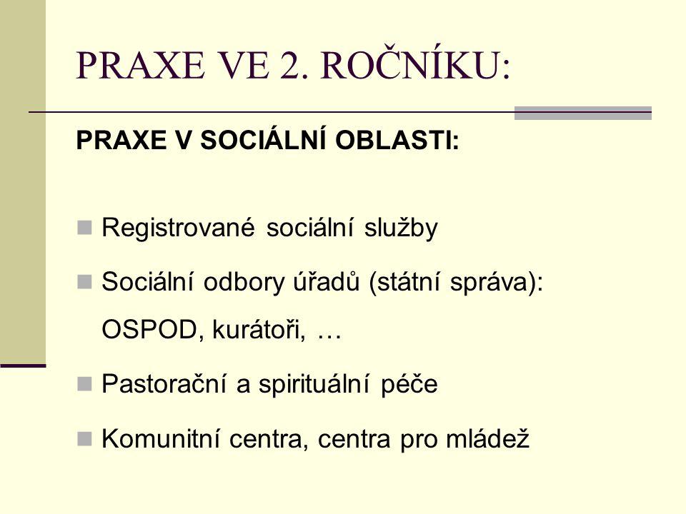 PRAXE VE 2. ROČNÍKU: PRAXE V SOCIÁLNÍ OBLASTI: Registrované sociální služby Sociální odbory úřadů (státní správa): OSPOD, kurátoři, … Pastorační a spi