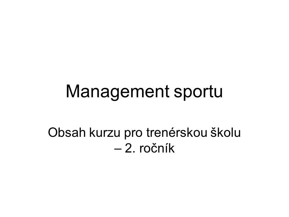 Management sportu Obsah kurzu pro trenérskou školu – 2. ročník