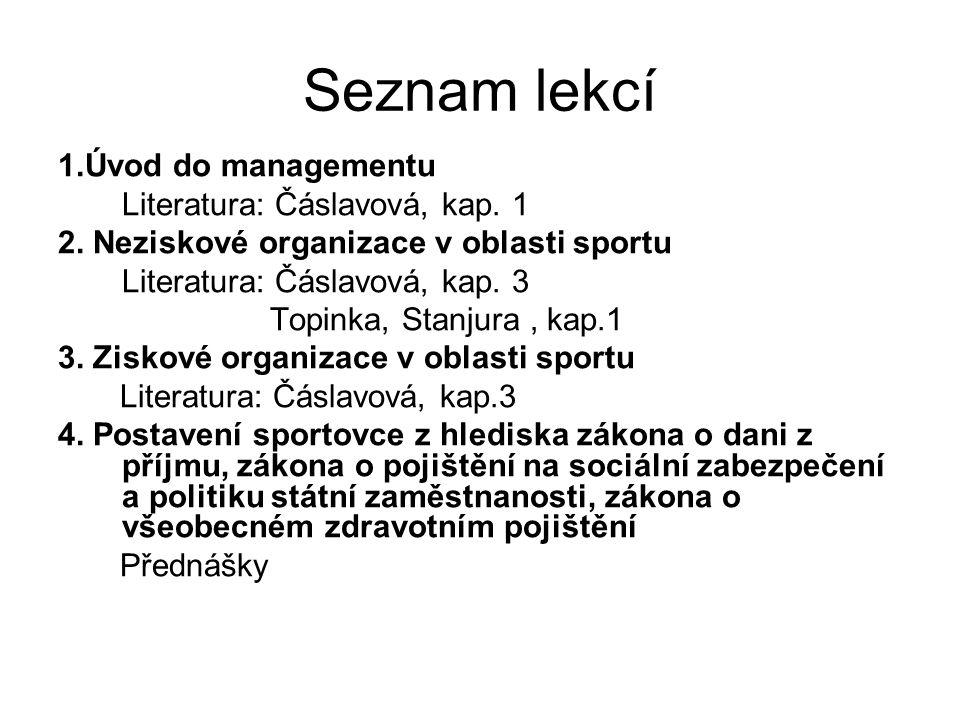 Seznam lekcí 1.Úvod do managementu Literatura: Čáslavová, kap. 1 2. Neziskové organizace v oblasti sportu Literatura: Čáslavová, kap. 3 Topinka, Stanj