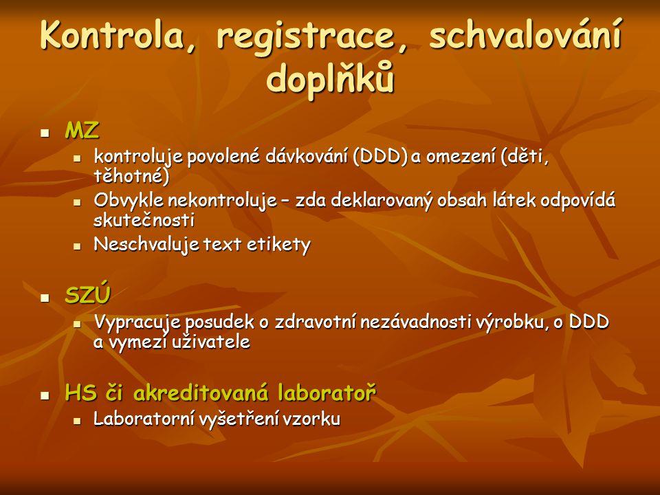 Kontrola, registrace, schvalování doplňků MZ MZ kontroluje povolené dávkování (DDD) a omezení (děti, těhotné) kontroluje povolené dávkování (DDD) a om