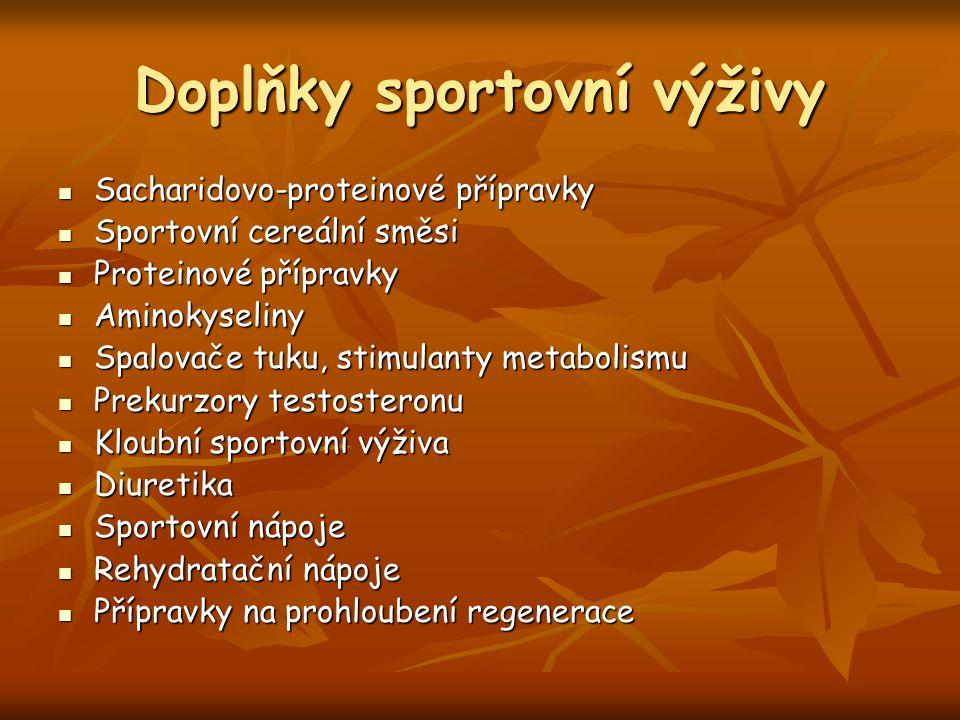 Doplňky sportovní výživy Sacharidovo-proteinové přípravky Sacharidovo-proteinové přípravky Sportovní cereální směsi Sportovní cereální směsi Proteinov