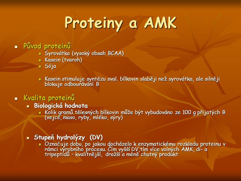 Proteiny a AMK Původ proteinů Původ proteinů Syrovátka (vysoký obsah BCAA) Syrovátka (vysoký obsah BCAA) Kasein (tvaroh) Kasein (tvaroh) Sója Sója Kas