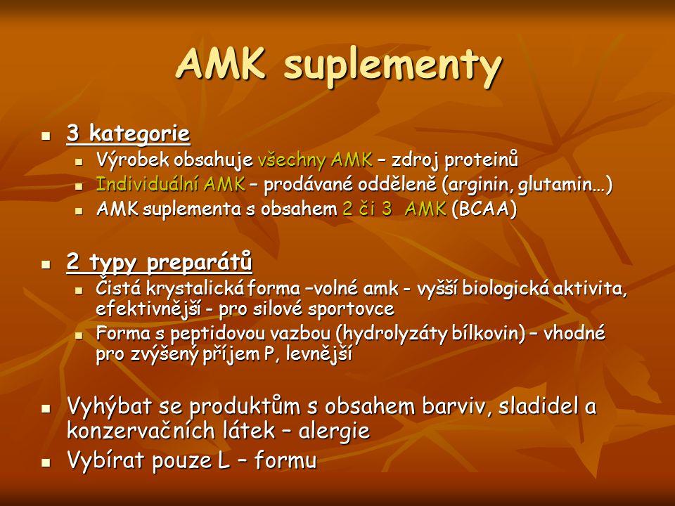 AMK suplementy 3 kategorie 3 kategorie Výrobek obsahuje všechny AMK – zdroj proteinů Výrobek obsahuje všechny AMK – zdroj proteinů Individuální AMK –