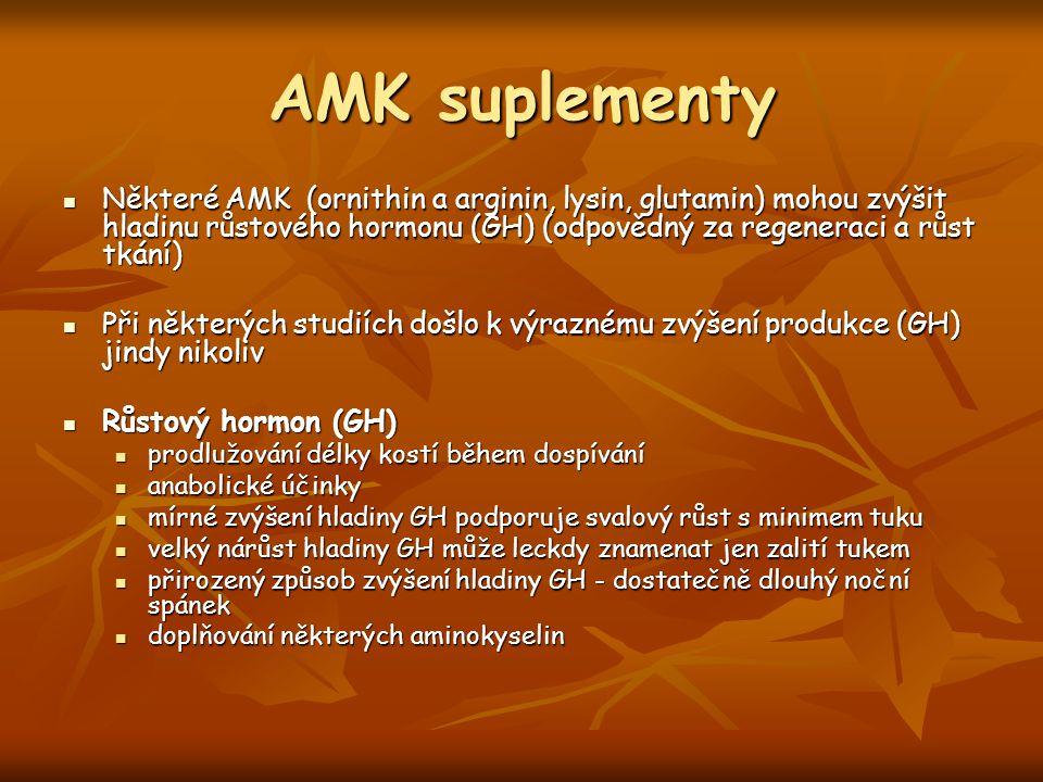 AMK suplementy Některé AMK (ornithin a arginin, lysin, glutamin) mohou zvýšit hladinu růstového hormonu (GH) (odpovědný za regeneraci a růst tkání) Ně