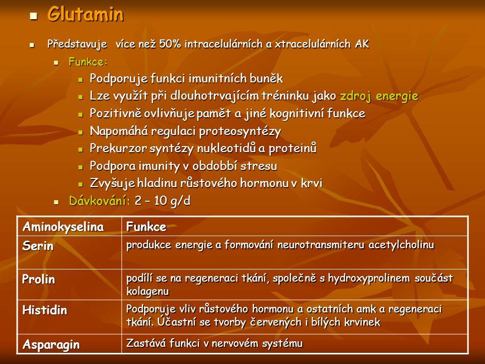 Glutamin Glutamin Představuje více než 50% intracelulárních a xtracelulárních AK Představuje více než 50% intracelulárních a xtracelulárních AK Funkce