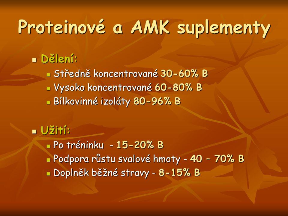 Proteinové a AMK suplementy Dělení: Dělení: Středně koncentrované 30-60% B Středně koncentrované 30-60% B Vysoko koncentrované 60-80% B Vysoko koncent