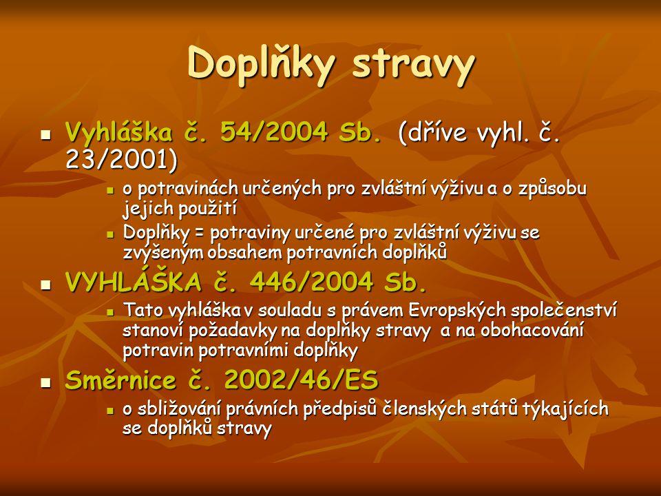 Doplňky stravy Vyhláška č. 54/2004 Sb. (dříve vyhl. č. 23/2001) Vyhláška č. 54/2004 Sb. (dříve vyhl. č. 23/2001) o potravinách určených pro zvláštní v
