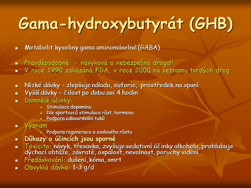 Gama-hydroxybutyrát (GHB) Metabolit kyseliny gama aminomáselné (GABA) Metabolit kyseliny gama aminomáselné (GABA) Pravděpodobně - návyková a nebezpečn