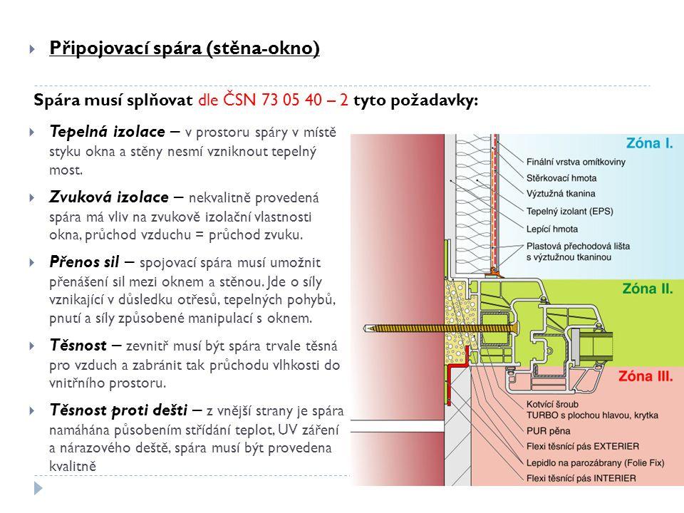  Připojovací spára (stěna-okno)  Tepelná izolace – v prostoru spáry v místě styku okna a stěny nesmí vzniknout tepelný most.  Zvuková izolace – nek
