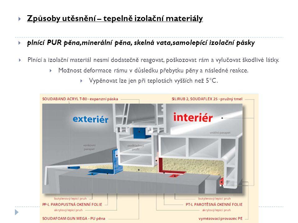  Způsoby utěsnění – tepelně izolační materiály  plnící PUR pěna,minerální pěna, skelná vata,samolepící izolační pásky  Plnící a izolační materiál n