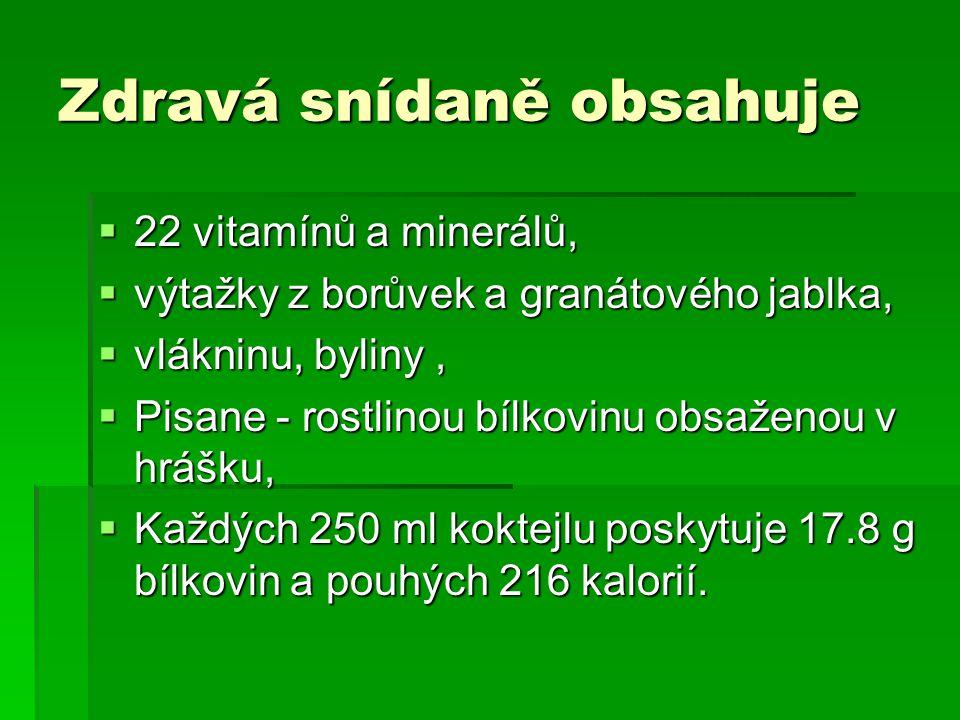 Zdravá snídaně obsahuje  22 vitamínů a minerálů,  výtažky z borůvek a granátového jablka,  vlákninu, byliny,  Pisane - rostlinou bílkovinu obsažen