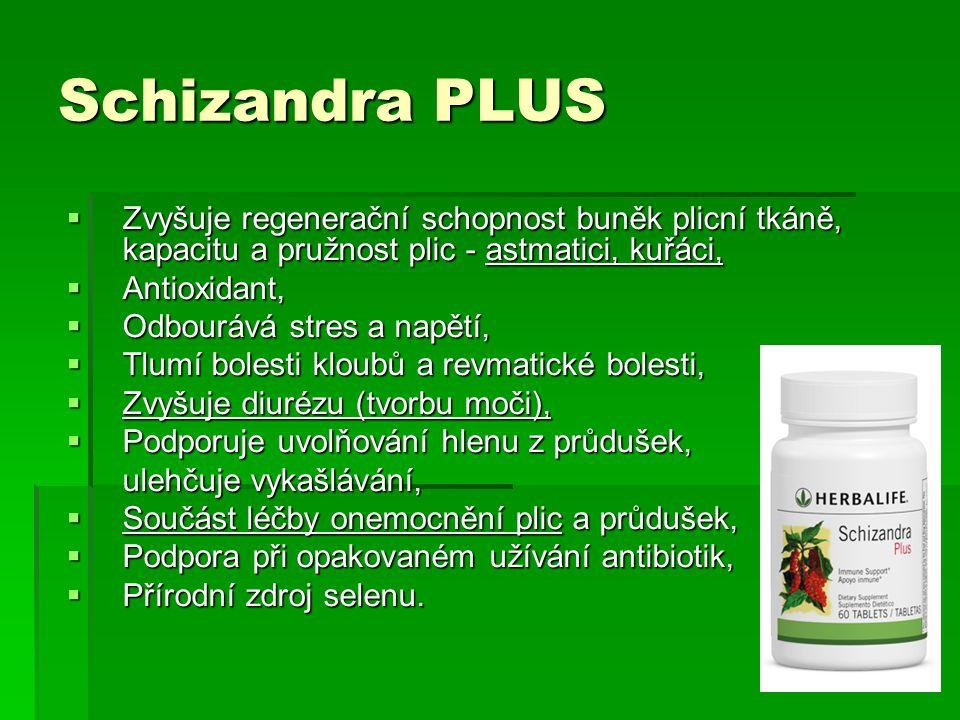 Schizandra PLUS  Zvyšuje regenerační schopnost buněk plicní tkáně, kapacitu a pružnost plic - astmatici, kuřáci,  Antioxidant,  Odbourává stres a n