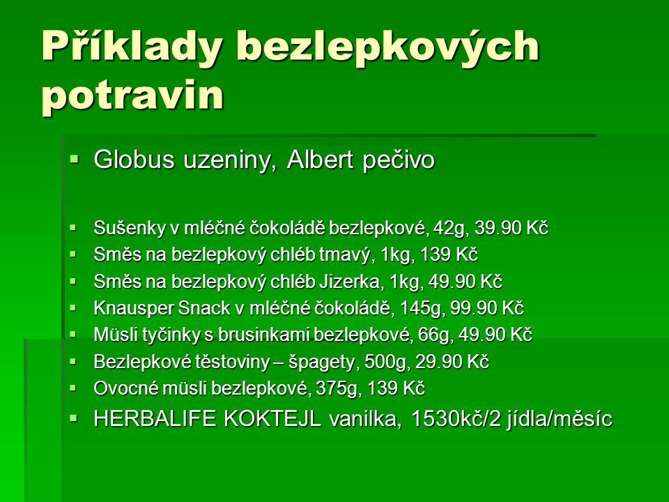 Příklady bezlepkových potravin  Globus uzeniny, Albert pečivo  Sušenky v mléčné čokoládě bezlepkové, 42g, 39.90 Kč  Směs na bezlepkový chléb tmavý,