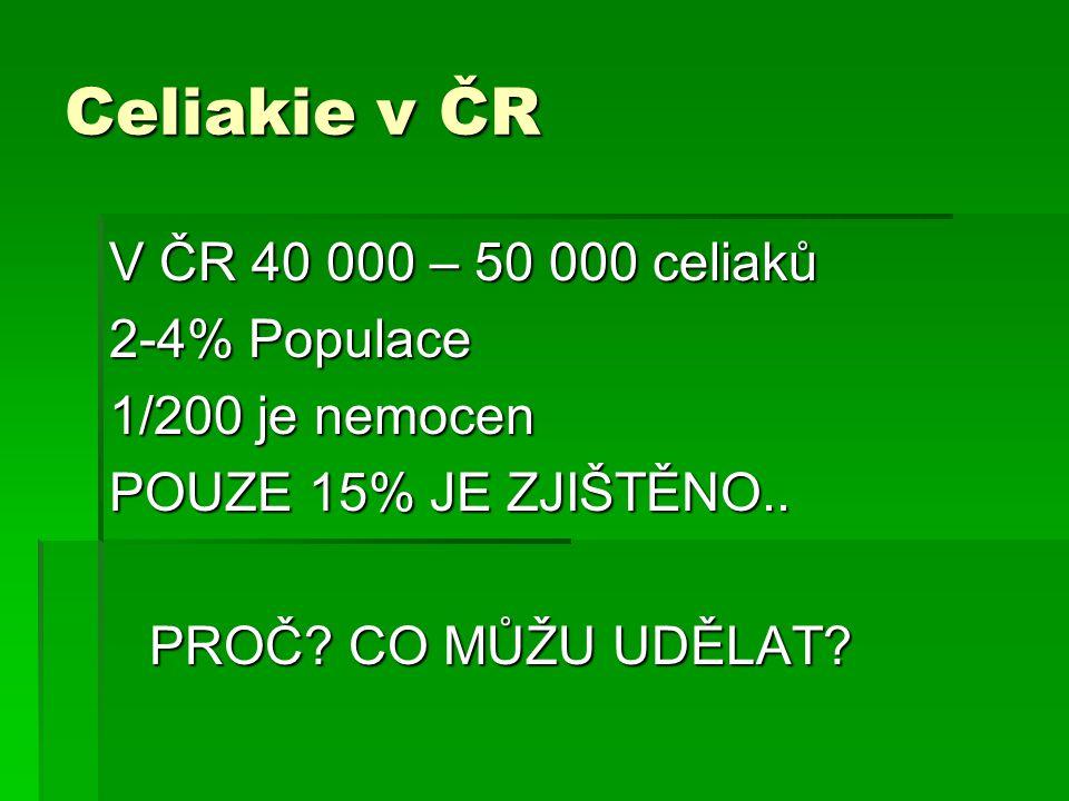 Celiakie v ČR V ČR 40 000 – 50 000 celiaků 2-4% Populace 1/200 je nemocen POUZE 15% JE ZJIŠTĚNO.. PROČ? CO MŮŽU UDĚLAT?