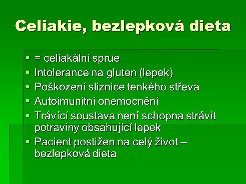 Celiakie, bezlepková dieta  = celiakální sprue  Intolerance na gluten (lepek)  Poškození sliznice tenkého střeva  Autoimunitní onemocnění  Trávíc