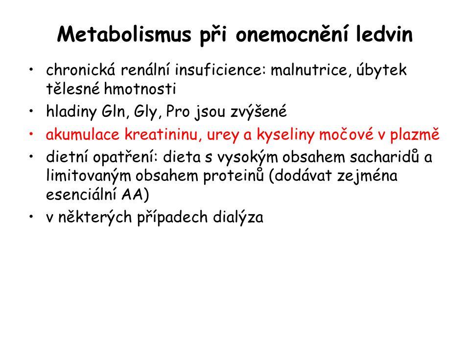 Metabolismus při onemocnění ledvin chronická renální insuficience: malnutrice, úbytek tělesné hmotnosti hladiny Gln, Gly, Pro jsou zvýšené akumulace k