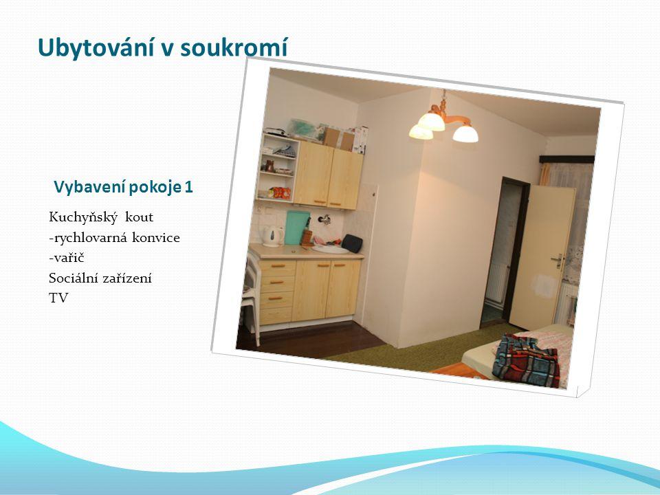 Vybavení pokoje 1 Kuchyňský kout -rychlovarná konvice -vařič Sociální zařízení TV Ubytování v soukromí