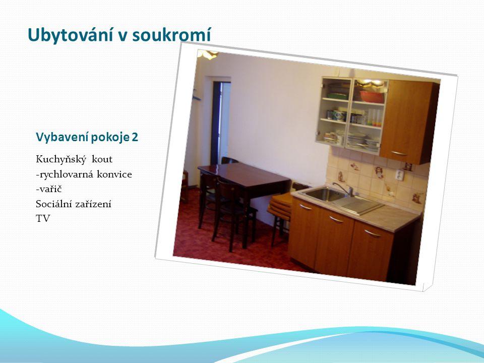 Vybavení pokoje 2 Kuchyňský kout -rychlovarná konvice -vařič Sociální zařízení TV Ubytování v soukromí