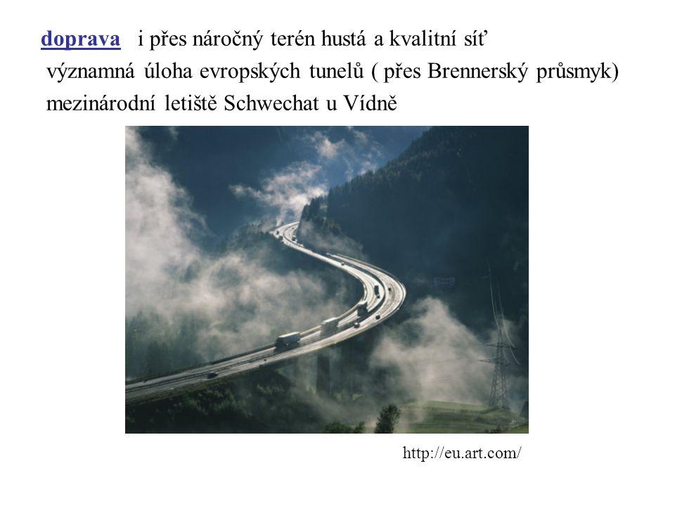 doprava i přes náročný terén hustá a kvalitní síť významná úloha evropských tunelů ( přes Brennerský průsmyk) mezinárodní letiště Schwechat u Vídně ht