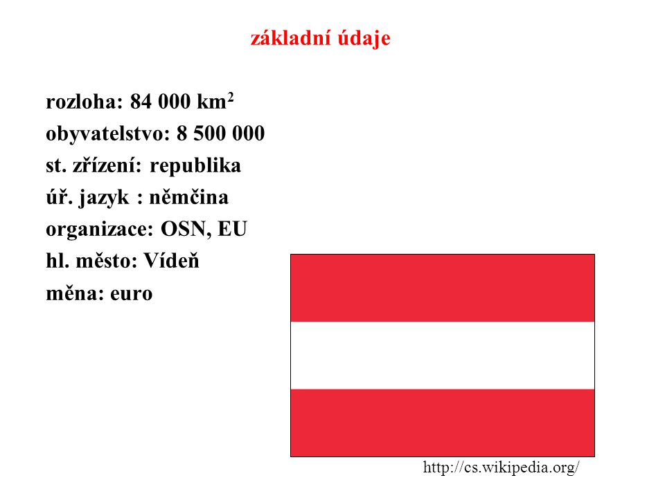 základní údaje rozloha: 84 000 km 2 obyvatelstvo: 8 500 000 st. zřízení: republika úř. jazyk : němčina organizace: OSN, EU hl. město: Vídeň měna: euro