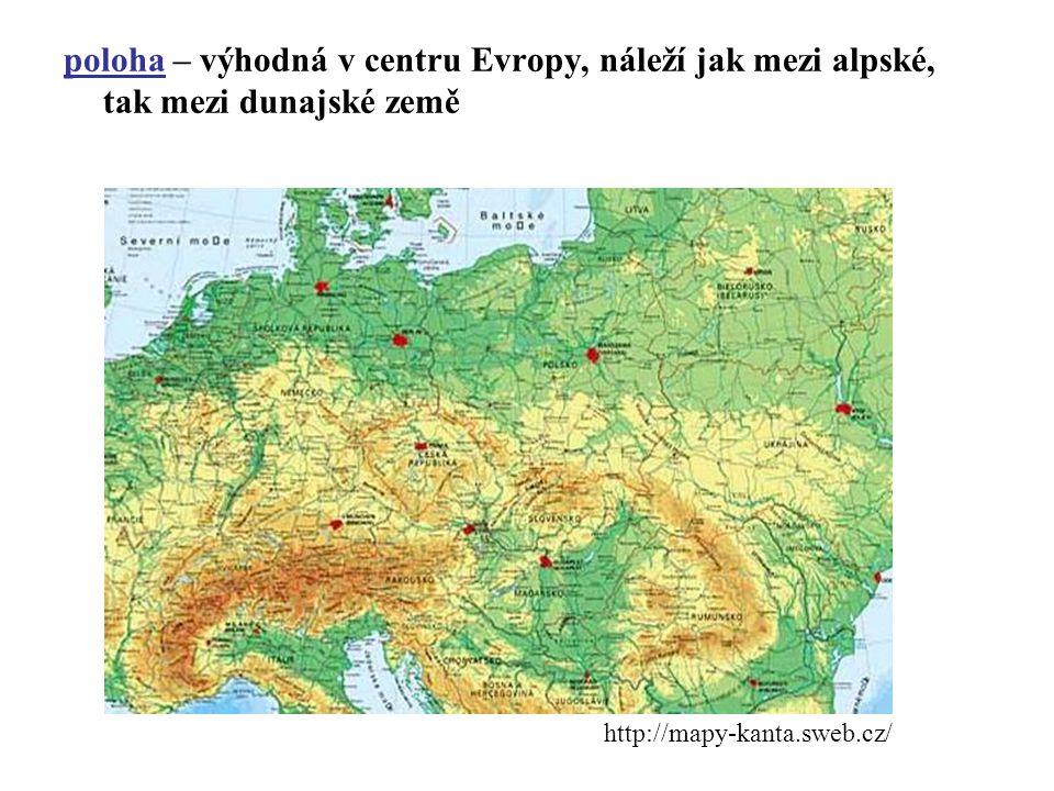 poloha – výhodná v centru Evropy, náleží jak mezi alpské, tak mezi dunajské země http://mapy-kanta.sweb.cz/
