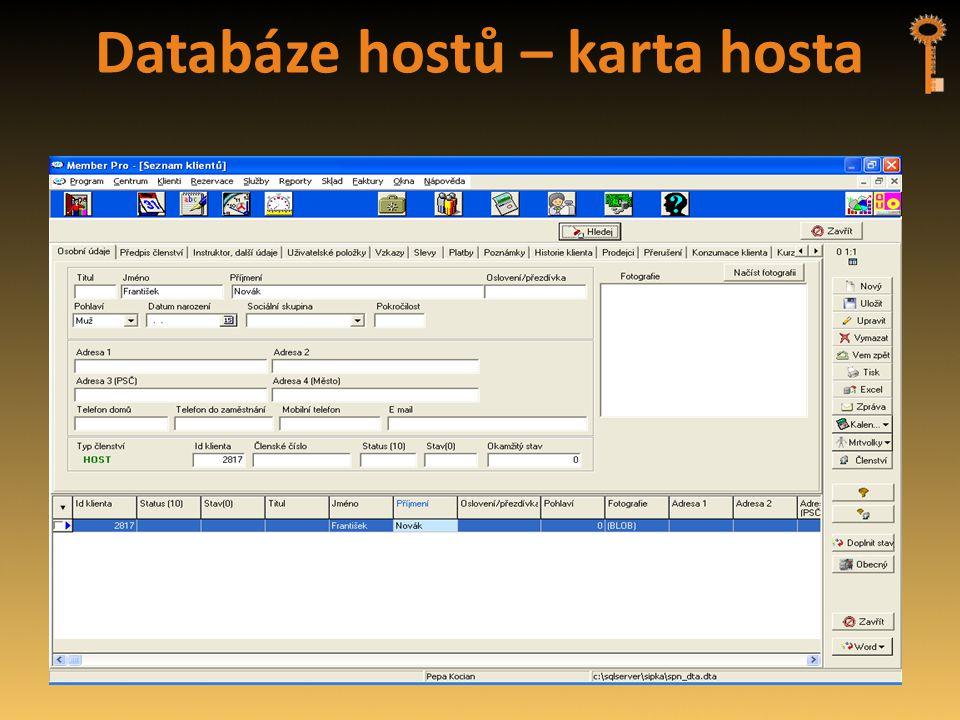 Databáze hostů – karta hosta