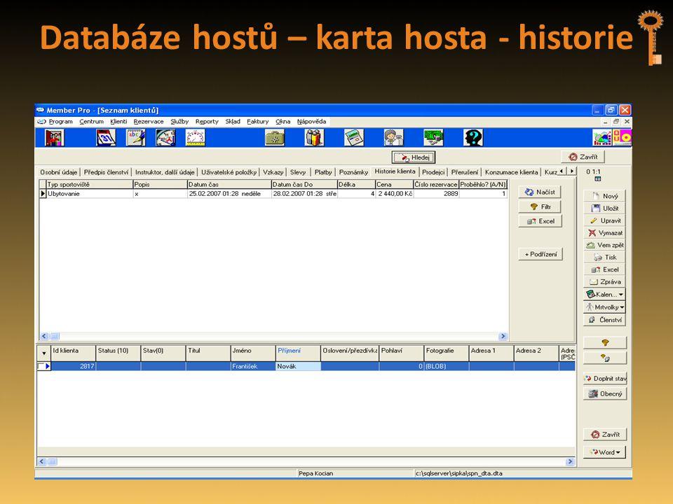 Databáze hostů – karta hosta - historie