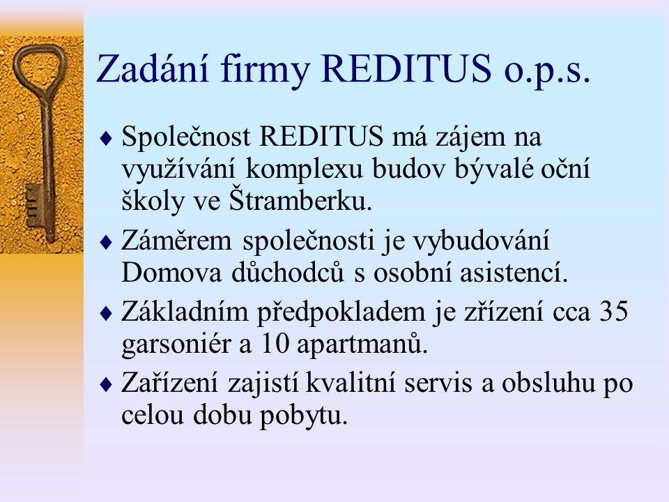 Zadání firmy REDITUS o.p.s.  Společnost REDITUS má zájem na využívání komplexu budov bývalé oční školy ve Štramberku.  Záměrem společnosti je vybudo