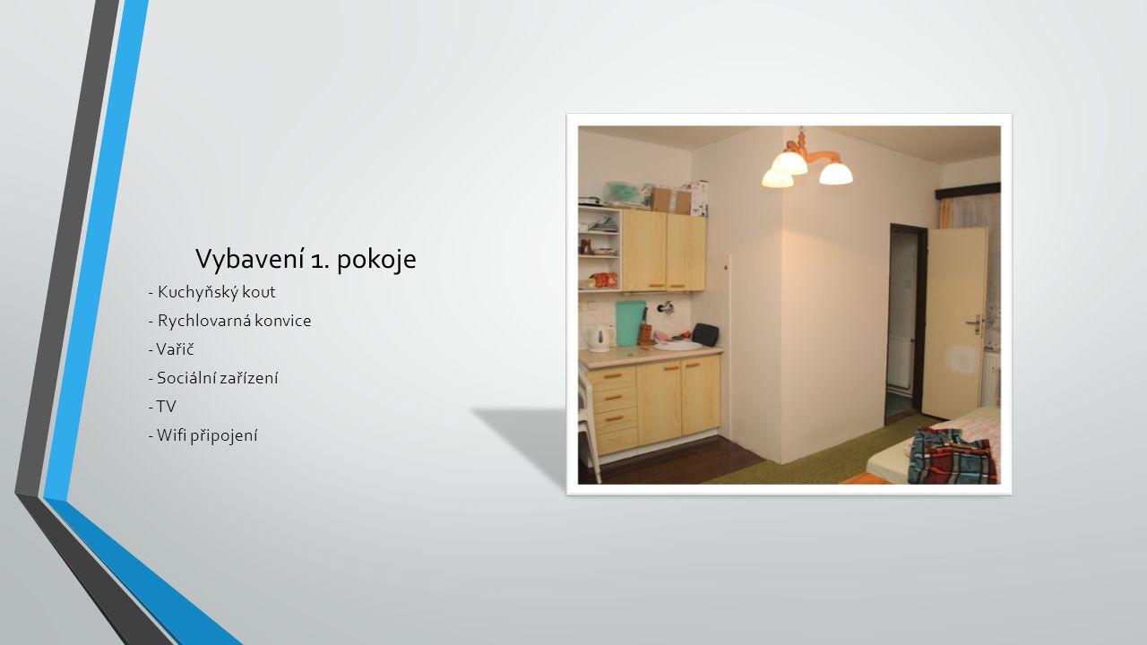 Vybavení 1. pokoje - Kuchyňský kout - Rychlovarná konvice - Vařič - Sociální zařízení - TV - Wifi připojení