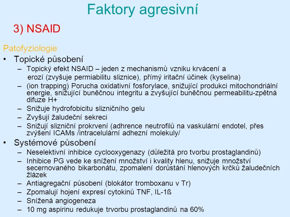 3) NSAID Patofyziologie Topické působení –Topický efekt NSAID – jeden z mechanismů vzniku krvácení a erozí (zvyšuje permiabilitu sliznice), přímý iritační účinek (kyselina) –(ion trapping) Porucha oxidativní fosforylace, snižující produkci mitochondriální energie, snižující buněčnou integritu a zvyšující buněčnou permeabilitu-zpětná difuze H+ –Snižuje hydrofobicitu slizničního gelu –Zvyšují žaludeční sekreci –Snižují slizniční prokrvení (adhrence neutrofilů na vaskulární endotel, přes zvýšení ICAMs /intracelulární adhezní molekuly/ Systémové působení –Neselektivní inhibice cyclooxygenazy (důležitá pro tvorbu prostaglandinů) –Inhibice PG vede ke snížení množství i kvality hlenu, snižuje množství secernovaného bikarbonátu, zpomalení dorůstání hlenových krčků žaludečních žlázek –Antiagregační působení (blokátor tromboxanu v Tr) –Zpomalují hojení expresí cytokinů TNF, IL-1ß –Snížená angiogeneza –10 mg aspirinu redukuje trvorbu prostaglandinů na 60% Faktory agresivní