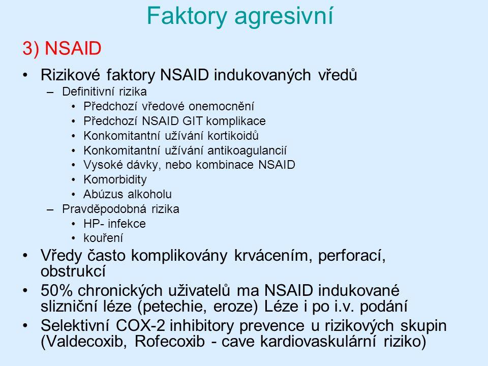 3) NSAID Rizikové faktory NSAID indukovaných vředů –Definitivní rizika Předchozí vředové onemocnění Předchozí NSAID GIT komplikace Konkomitantní užívání kortikoidů Konkomitantní užívání antikoagulancií Vysoké dávky, nebo kombinace NSAID Komorbidity Abúzus alkoholu –Pravděpodobná rizika HP- infekce kouření Vředy často komplikovány krvácením, perforací, obstrukcí 50% chronických uživatelů ma NSAID indukované slizniční léze (petechie, eroze) Léze i po i.v.