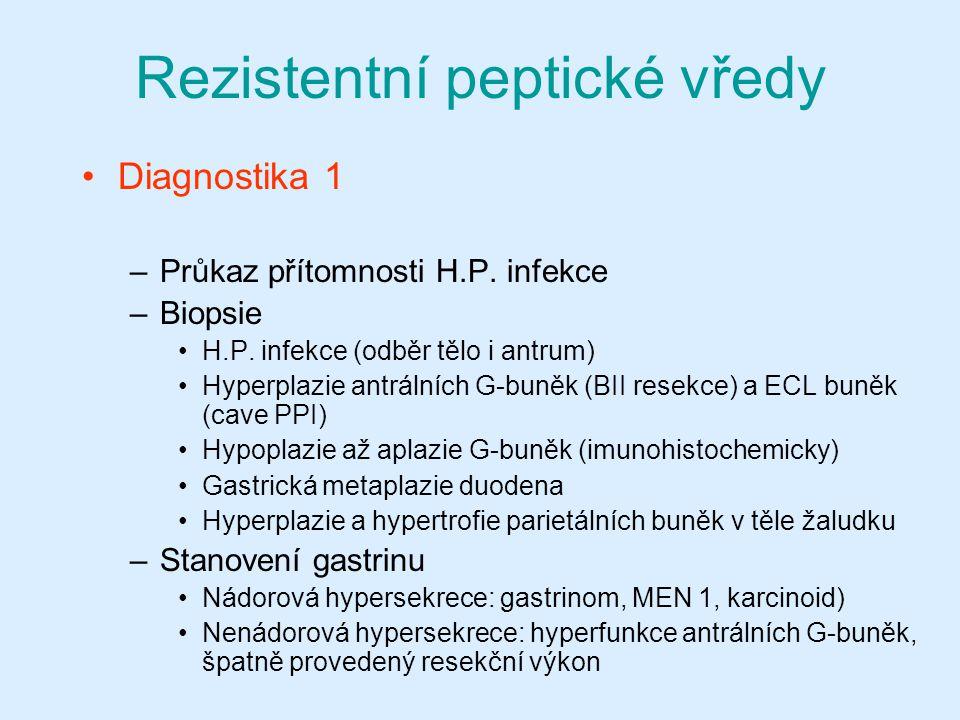 Rezistentní peptické vředy Diagnostika 1 –Průkaz přítomnosti H.P. infekce –Biopsie H.P. infekce (odběr tělo i antrum) Hyperplazie antrálních G-buněk (