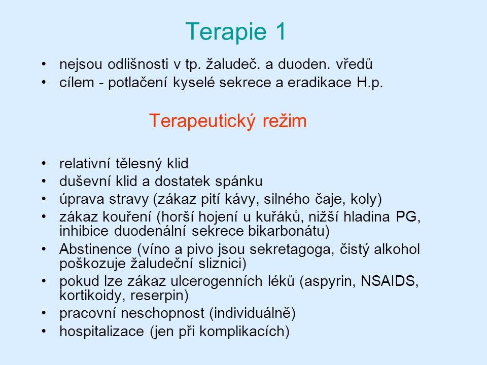 Terapie 1 nejsou odlišnosti v tp. žaludeč. a duoden. vředů cílem - potlačení kyselé sekrece a eradikace H.p. Terapeutický režim relativní tělesný klid