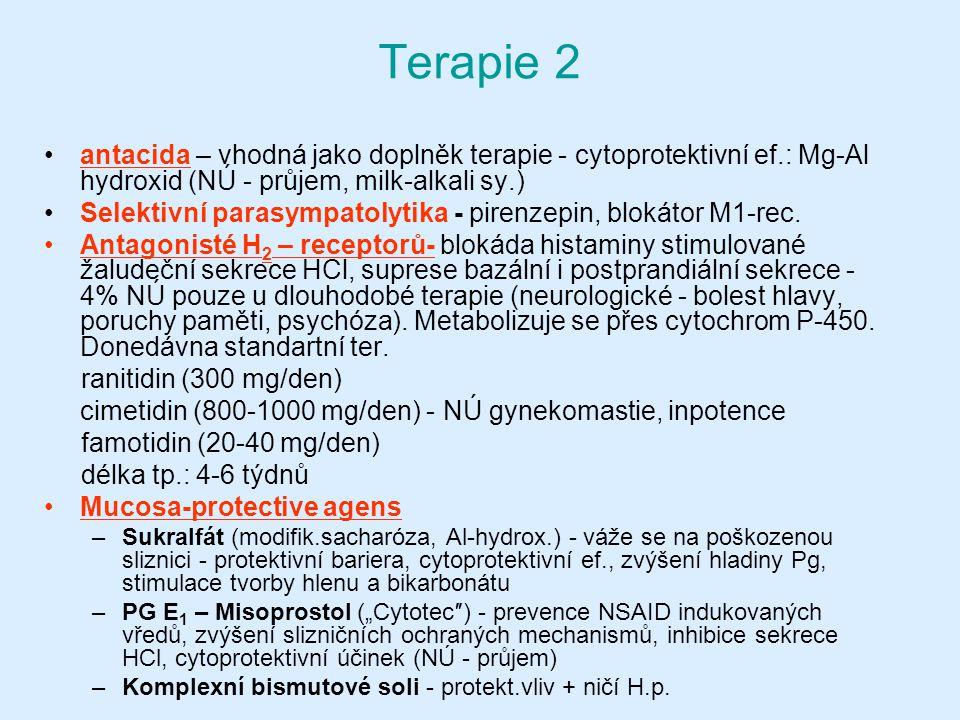 Terapie 2 antacida – vhodná jako doplněk terapie - cytoprotektivní ef.: Mg-Al hydroxid (NÚ - průjem, milk-alkali sy.) Selektivní parasympatolytika - pirenzepin, blokátor M1-rec.