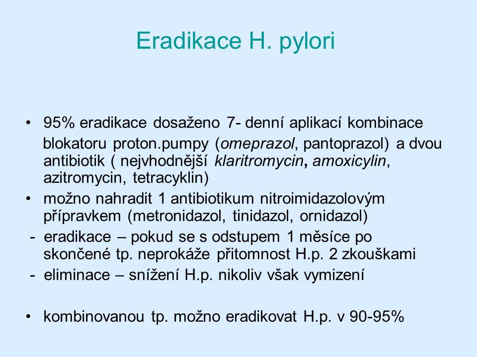 Eradikace H. pylori 95% eradikace dosaženo 7- denní aplikací kombinace blokatoru proton.pumpy (omeprazol, pantoprazol) a dvou antibiotik ( nejvhodnějš