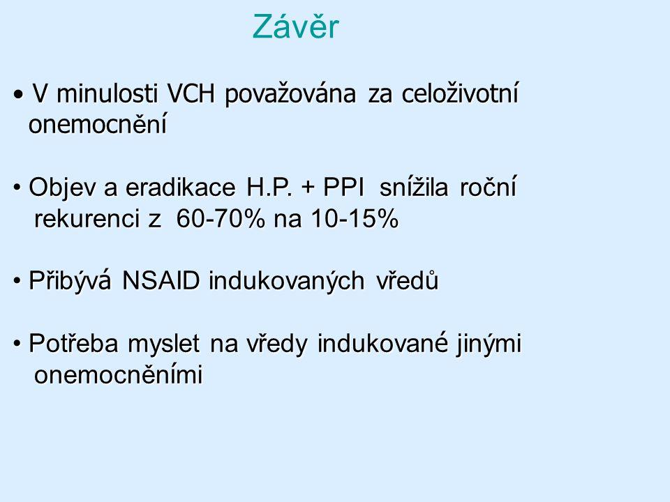 Závěr V minulosti VCH považována za celoživotní V minulosti VCH považována za celoživotní onemocn ěn í onemocn ěn í Objev a eradikace H.P. + PPI sn í