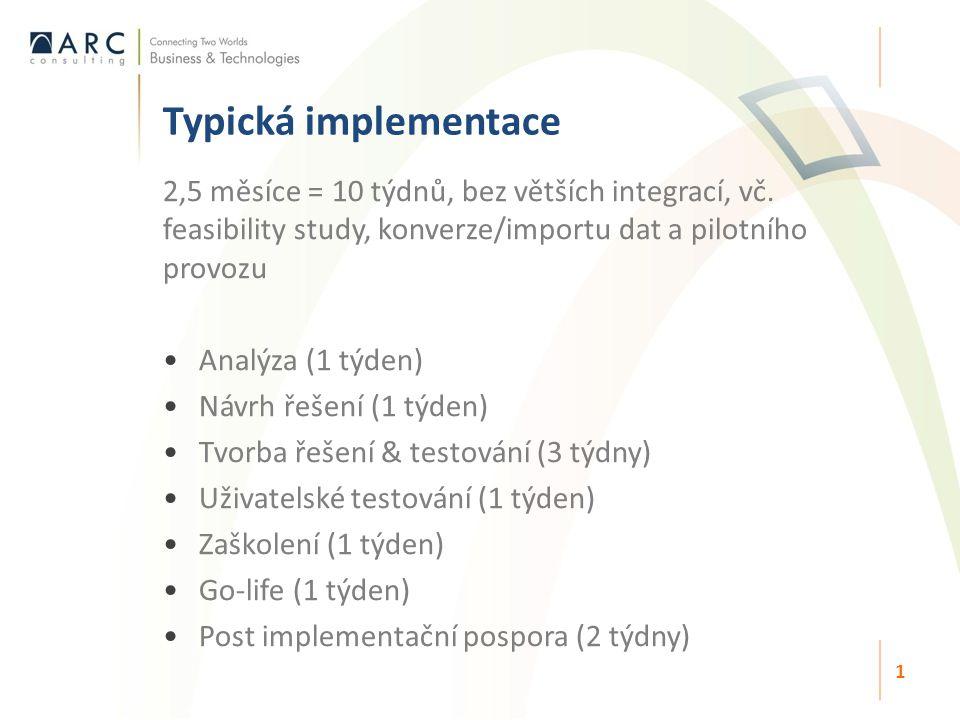 Typická implementace 1 2,5 měsíce = 10 týdnů, bez větších integrací, vč. feasibility study, konverze/importu dat a pilotního provozu Analýza (1 týden)