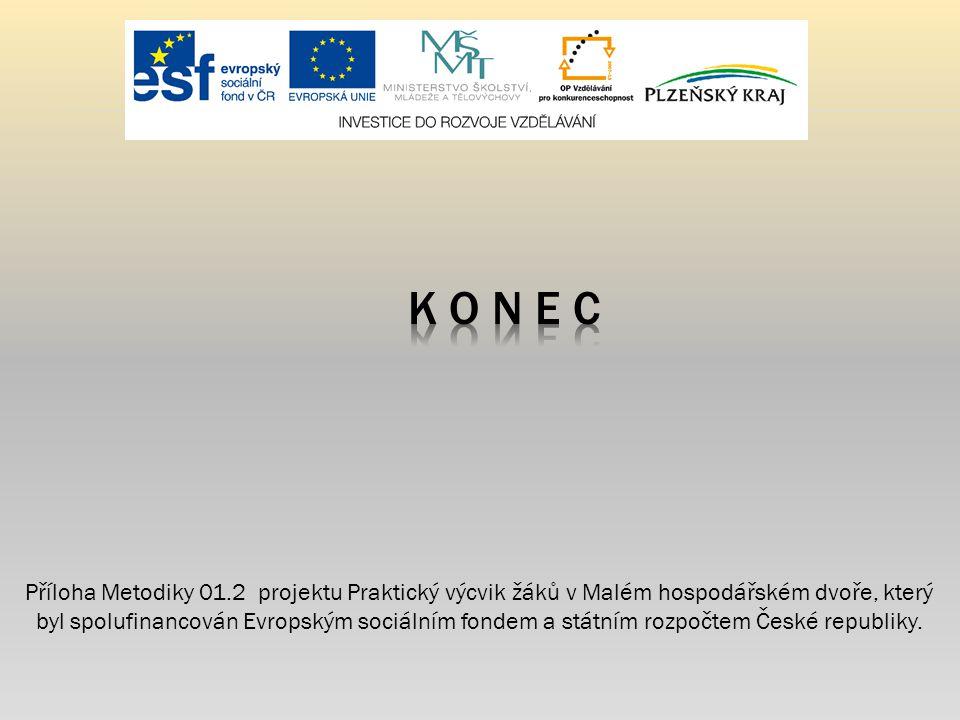 Příloha Metodiky 01.2 projektu Praktický výcvik žáků v Malém hospodářském dvoře, který byl spolufinancován Evropským sociálním fondem a státním rozpoč